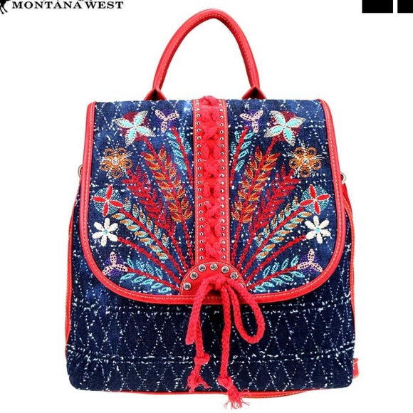 Montana West Handbags - NWT • red denim embroidered backpack